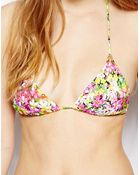 Asos Azalea Floral Micro Brazilian Triangle Bikini Top - Lyst
