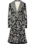 Oscar de la Renta Embroidered Stretch-Wool Coat - Lyst