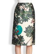 Oscar de la Renta Embroidered Mikado Pencil Skirt - Lyst