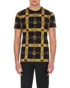 Moschino Logo Belt Graphic Tee - For Men - Lyst