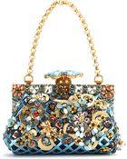 Dolce & Gabbana Vanda Embellished Metallic Leather Clutch - Lyst
