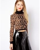 Asos Cropped Sweater with Roll Neck in Leopard Print - Lyst