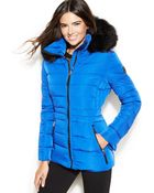 Calvin Klein Hooded Faux-Fur-Trim Quilted Puffer Coat - Lyst