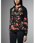Patrizia Pepe Hooded Printed Sweatshirt In Stretch Cotton - Lyst