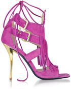 Patrizia Pepe Peony Pink Suede And Leather Fringe High Heel Sandal - Lyst