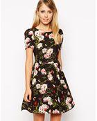Oasis Rose Print Skater Dress - Lyst