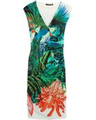 Roberto Cavalli Printed Stretch Jersey Dress - Lyst