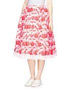Ms Min Neon Flower Embroidery Pleated Midi Skirt - Lyst