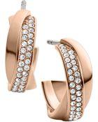 Michael Kors Rose Goldtone Crystal Twisted Hoop Earrings - Lyst