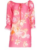 Matthew Williamson Botanical Feather Silk Mix Dress - Lyst