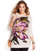 Inc International Concepts Plus Size Floral Intarsia Tunic Sweater - Lyst