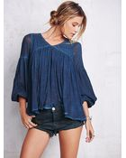 Free People Womens Washed Gauzy Peasant Top - Lyst