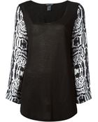 Thomas Wylde Contrasting Printed Sleeves Blouse - Lyst