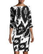 BCBGMAXAZRIA Dolman-sleeve Zigzag-print Twist-knot Dress - Lyst