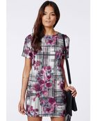 Missguided Catrin Short Sleeved Shift Dress Abstract Multi Print - Lyst