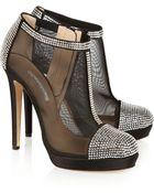 Oscar de la Renta Ottavigh Embellished Satin And Mesh Ankle Boots - Lyst