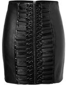 Balmain Leather Skirt With Laced Detailing - Lyst
