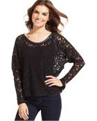 DKNY Long-Sleeve Lace Faux-Leather Top - Lyst