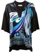 Emilio Pucci Contrast Sleeve Printed Blouse - Lyst