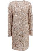 Monique Lhuillier Long-Sleeve Sequin Dress - Lyst