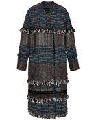 Thakoon Fringed Tweed Oversized Coat - Lyst
