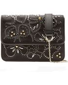 Valentino Embellished Leather Shoulder Bag - Lyst