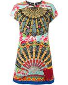 Dolce & Gabbana Floral Fans Printed Dress - Lyst