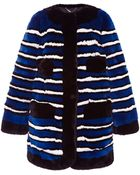 Marc Jacobs Striped Rabbit-Fur Coat - Lyst