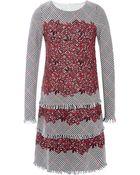 Oscar de la Renta Tiered Wool And Guipure Lace Dress - Lyst