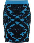 House of Holland Brocade Knit Skirt Turquoise - Lyst