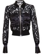 Givenchy Cropped Lace Jacket With Silk-Satin Trim - Lyst
