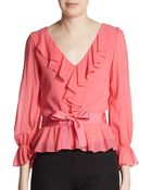 RED Valentino Silk Ruffle-Trimmed V-Neck Blouse - Lyst