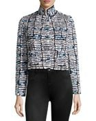 Oscar de la Renta Sequined And Embroidered Crop Jacket - Lyst