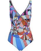 Gottex Graphic Surplice Swimsuit - Lyst