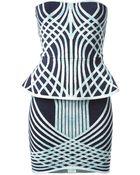 Hervé Léger 'Annette' Printed Peplum Dress - Lyst