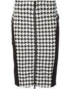 Michael Kors Houndstooth Print Pencil Skirt - Lyst