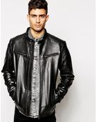 Selected Leather Jacket - Lyst