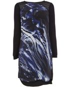 Karen Millen Brushstroke Print T-Shirt Dress - Lyst