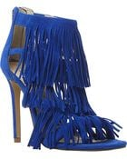 Steve Madden Fringed Suede Heeled Sandals - Lyst
