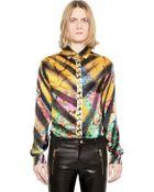 Versus  Printed Silk Satin Shirt - Lyst