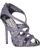 Badgley Mischka Junebug Evening Sandal Pewter Glitter - Lyst