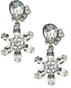 Oscar de la Renta Clear Multi-Crystal Clip-On Earrings - Lyst