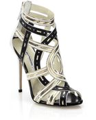 Brian Atwood Marva Chain-Trimmed Cutout Leather Sandals - Lyst