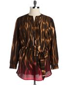 Calvin Klein Plus Belted Striped Tunic Top - Lyst