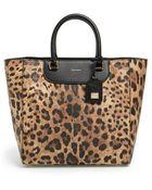 Dolce & Gabbana Medium Leopard Print Shopper Tote - Lyst