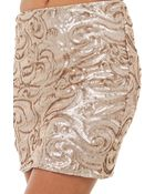 Akira My All Sequin Skirt In Light Taupe - Lyst