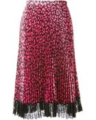 Christopher Kane Pleated Leopard Print Skirt - Lyst