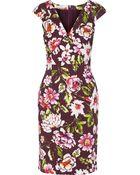 Oscar de la Renta Floral-Print Cotton-Blend Dress - Lyst