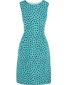 Oscar de la Renta Polka-Dot Silk-Twill Dress - Lyst