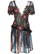 Rodarte Floral Lace And Sequin Dress With Marabou Trim - Lyst